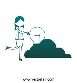Businesswoman holding bulb on cloud blue lines