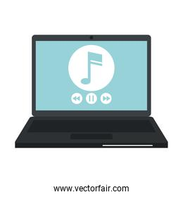 isolated  laptop with music