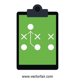 Football strategy on clipboard over white