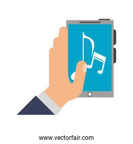 Hand holding smartphone with music
