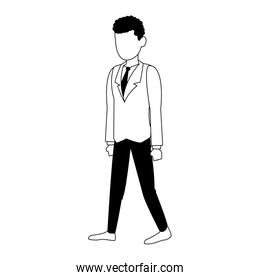 Businessman avatar cartoon in black and white