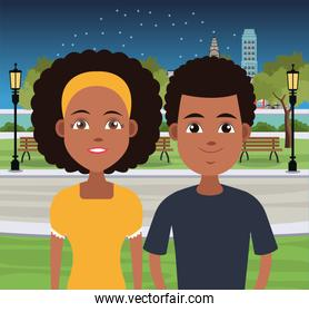 Young couple cartoons