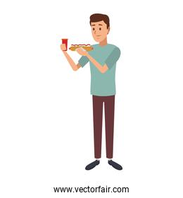 Man with hotdog and soda cup