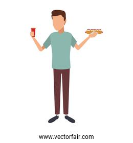 faceless Man with hotdog and soda cup