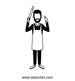 Chef man avatar in black and white