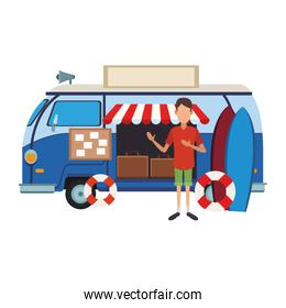 Man with retro van and luggage inside