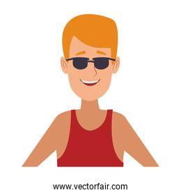 Young man face with sunglasses