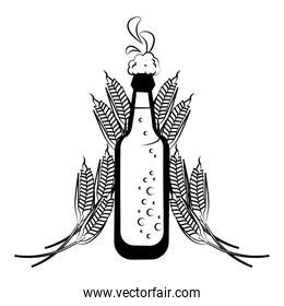 Beer bottle and wheat in black and white