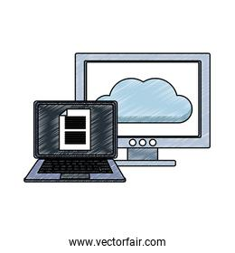 Laptop and computer with cloud computing scribble