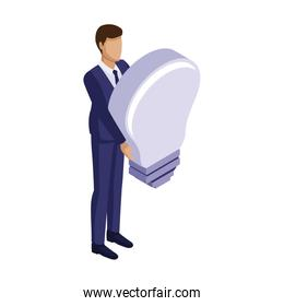 Business with bulb isometric