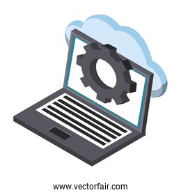 Laptop with cloud computing isometric