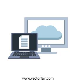 Laptop and computer with cloud computing isolated icon