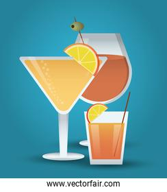 cocktail orange olive glass summer alcohol icon