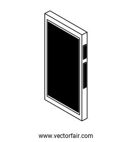 Smartphone isometric symbol in black and white