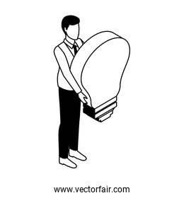 Business with bulb isometric in black and white