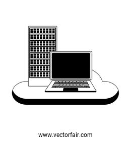 Laptop and computer with cloud computing in black and white