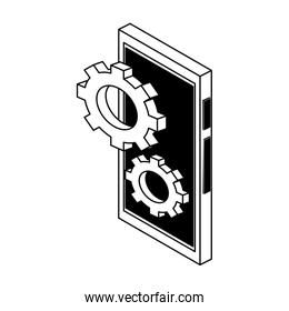 Gears on smartphone isometric symbol in black and white