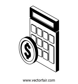 Calculator and coin in black and white