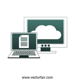 Laptop and computer with cloud computing blue lines