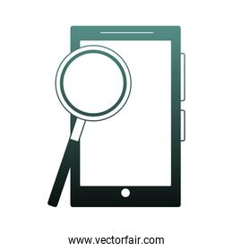 Magnifying glass on smartphone blue lines