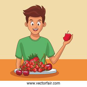 Young man and healthy food