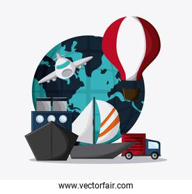 Planet hot air balloon airplane ship truck sailboat icon.