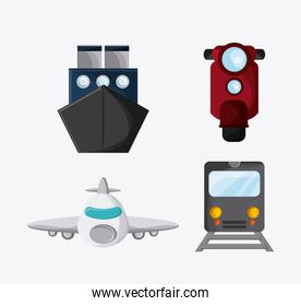 Train ship motorcycle airplane icon, vector