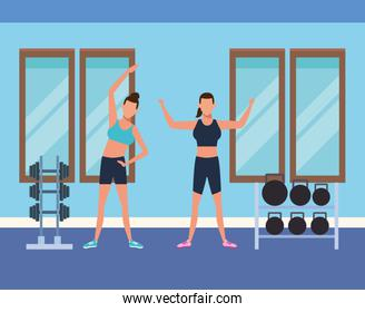 Fitness people and gym
