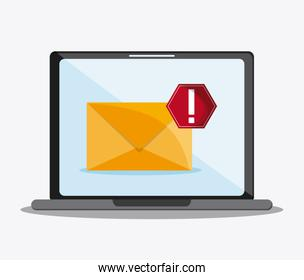 envelope laptop mail communication icon vector