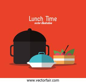 plate cake pot lunch time menu icon, vector