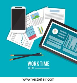 tablet office work time supply icon, vector