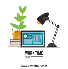 laptop office work time supply icon, vector