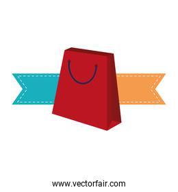 Shopping bag with ribbon banners