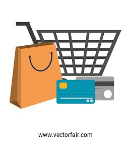 Credit cards and shopping cart with bag