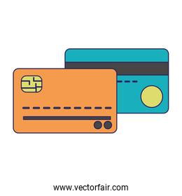 Credit cards isolated blue lines