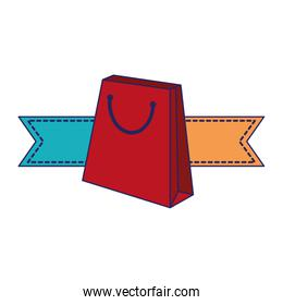 Shopping bag with ribbon banners blue lines