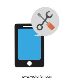 Smartphone with tools in bubble