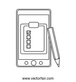 Smartphone with tasks in black and white