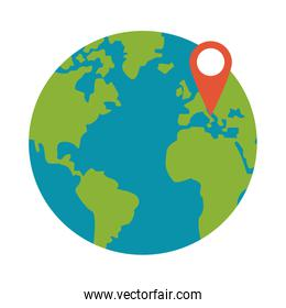 World with location pin