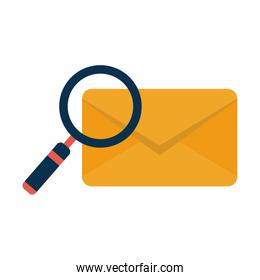 Envelope and magnifying glass