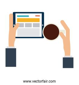 Hands with tablet and coffee cup