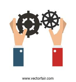 Hands with gears