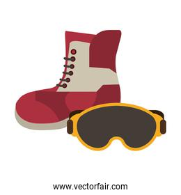 Winter boot and glasses