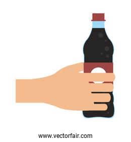 Hand with soda bottle