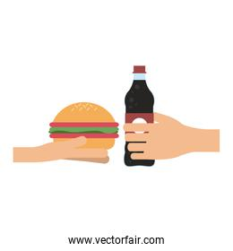 Hand with burger and soda bottle