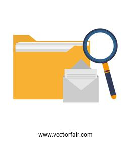 Folder and envelope with magnifying glass