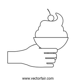 Hand holding ice cream cup black and white