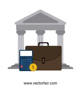 Bank building and briefcase