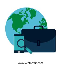 World wit smartphone and briefcase