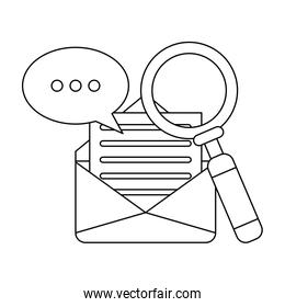 Magnifying glass looking mail in black and white